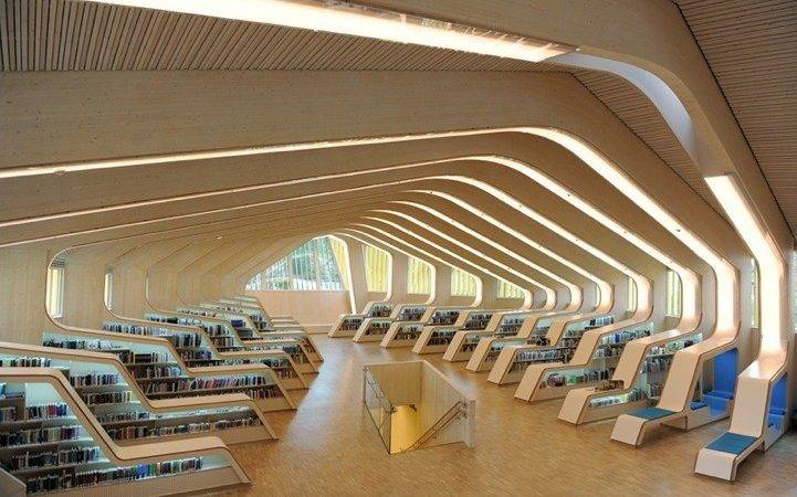 Norwegian Library Modern Ribbed Interior Design Met