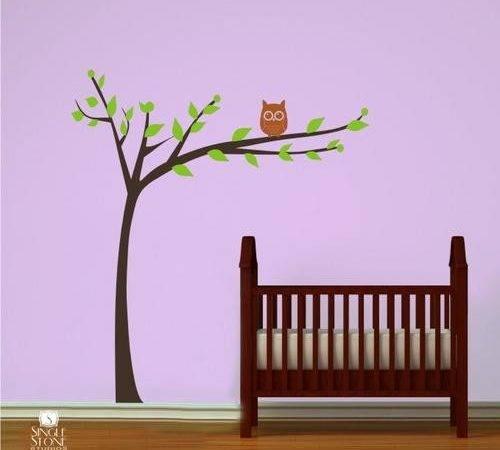 Nursery Tree Wall Decal Modern Owl Vinyl Stickers