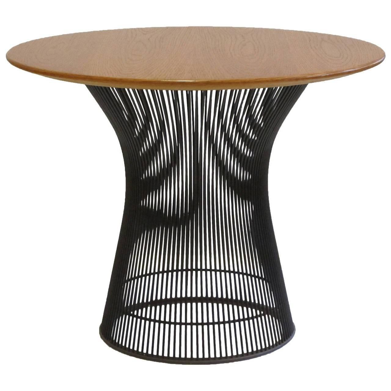 Oak Bronze Side Table Warren Platner Knoll