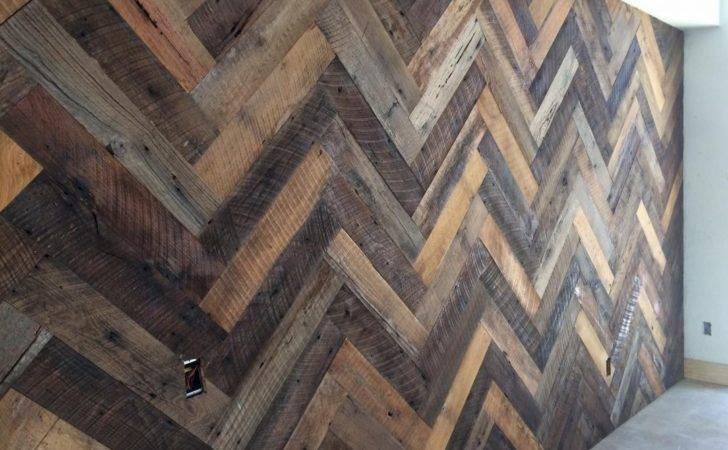 Oak Herringbone Pattern Installed Warehouse Turned Home Wall