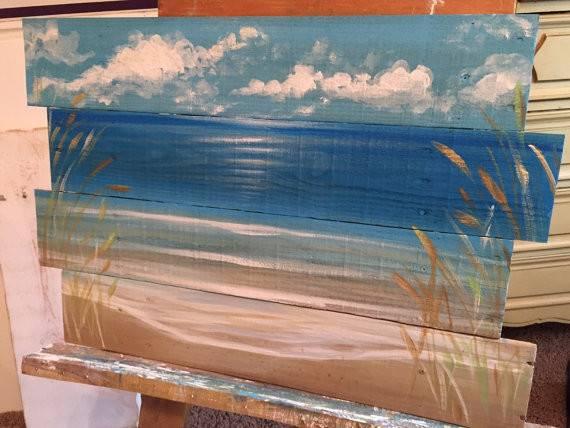 Ocean Beachscape Pallet Art Sign Nautical Reclaimed Wood Summer