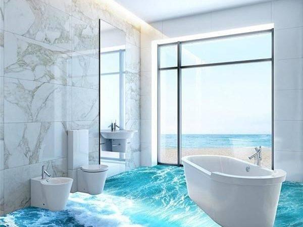 Ocean Waves Bathroom Toilet Tile Floor Tiles