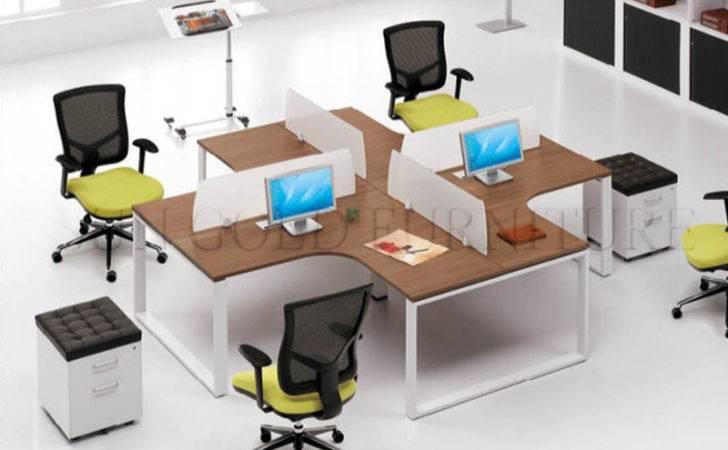 Office Desk Bookcase Six Person Workstation Furniture