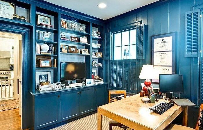 Office Ideas Cheerful Blue Interior Design