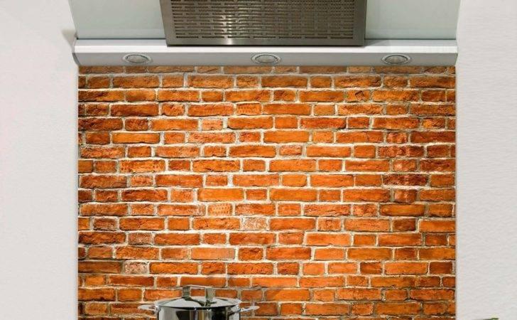 Old Red Brick Glass Splashback