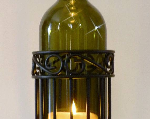 Olive Wine Bottle Candle Holder Hurricane Lamp Metal Centerpiece