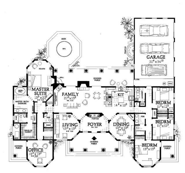 One Story Mediterranean Floor Plan Other Metro