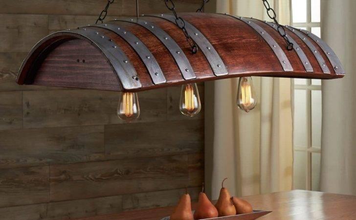 One Third Oak Wine Barrel Chandelier Lights
