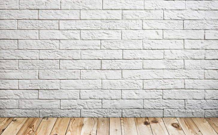 One White Brick Wall Few Accents Along