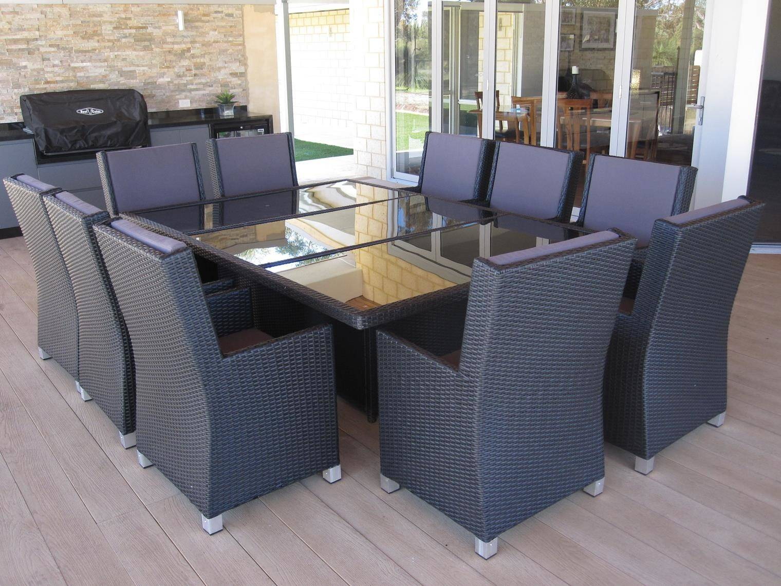 Only Perth Large Black Dining Set High Chairs Garden