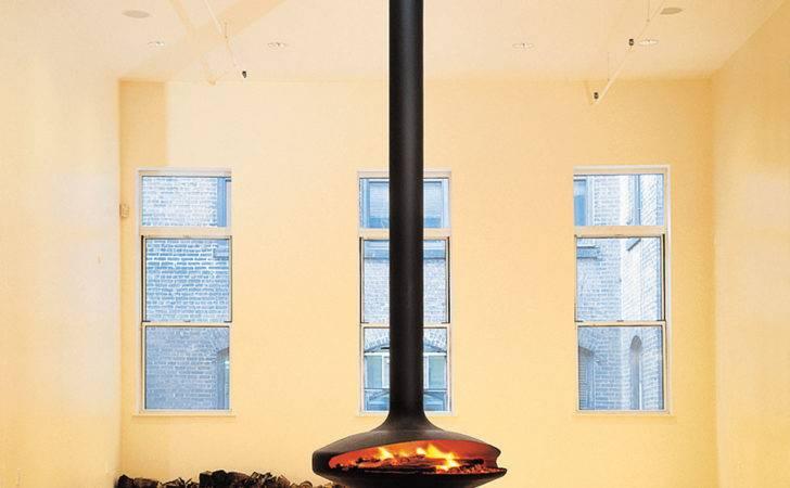 Open Central Hanging Fireplace Gyrofocus Focus Design Dominique