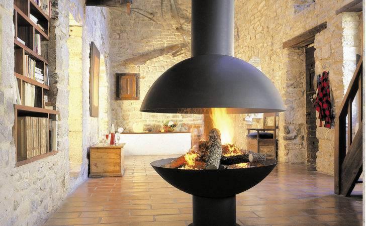 Open Central Swivel Hanging Steel Fireplace Mezzofocus Focus Design