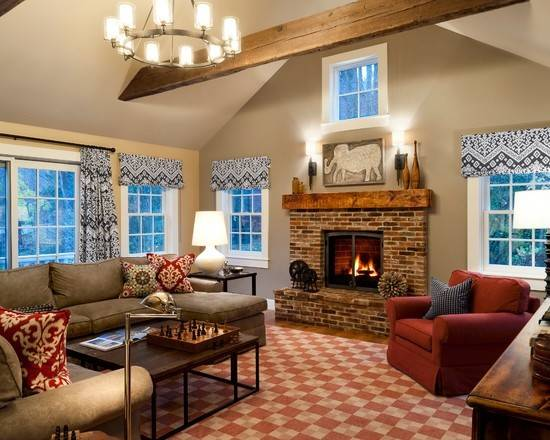 Open Living Room Stone Fireplace Home Pinterest