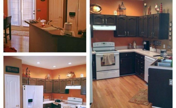Orange Kitchen Diy Painted Cabinets House Pinterest