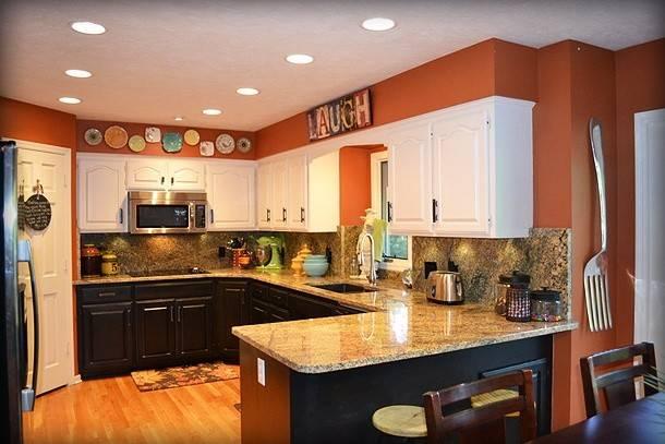 Orange Painted Kitchen Cabinets Kitchens Painting