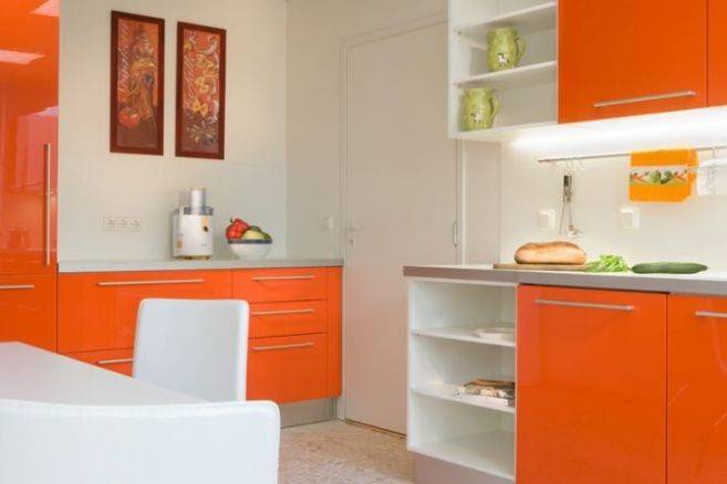 Orange Painted Kitchen Cabinets Wall Paint