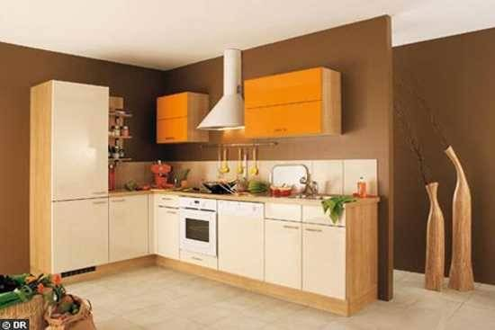 Orange Painted Kitchen Wall Brown Paint Colors