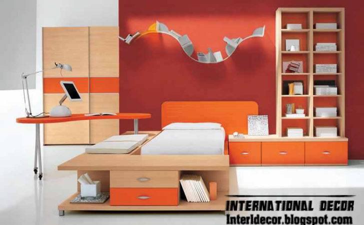 Orange White Kids Room Color Schemes Idea Modern
