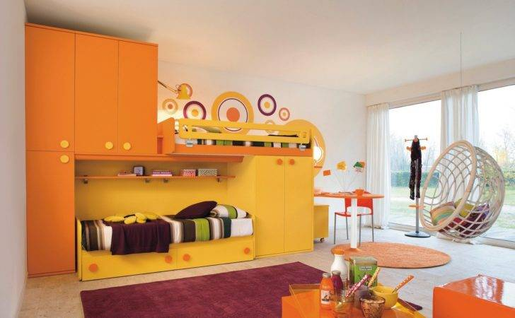 Orange Yellow Kids Bedroom Designs Paint Colors