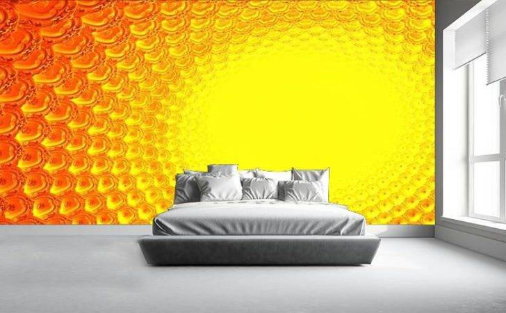 Orange Yellow Pattern Wall Mural Wallpaperink