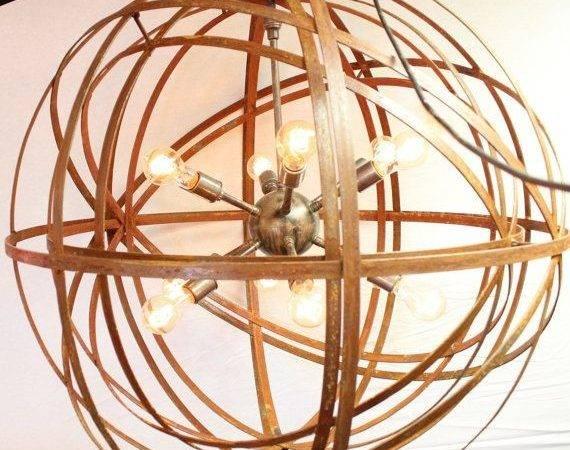 Orb Chandelier Industrial Sphere Inside Sputnik Metal Strap