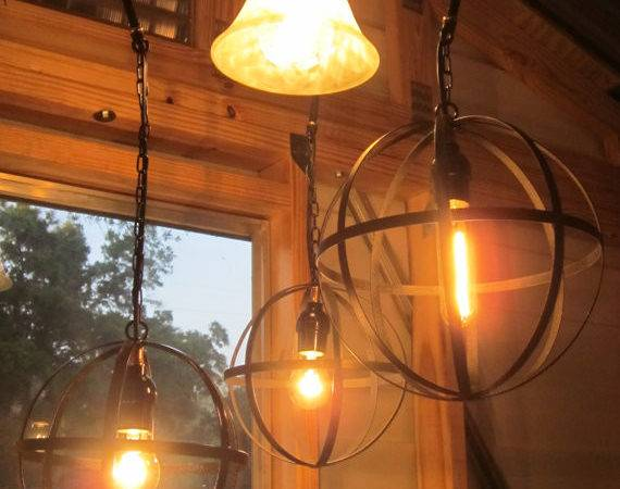 Orb Chandelier Industrial Sphere Orbs Style Metal Wine Barrel