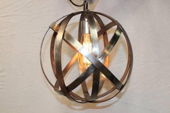 Orb Chandelier Single Socket Industrial Sphere Stainless Steel