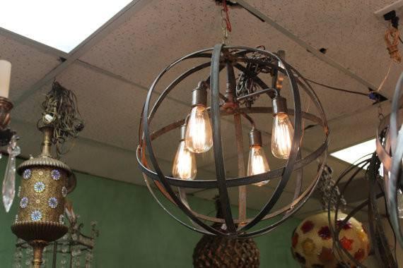 Orb Chandelier Socket Industrial Sphere Rust Iron Metal Strap