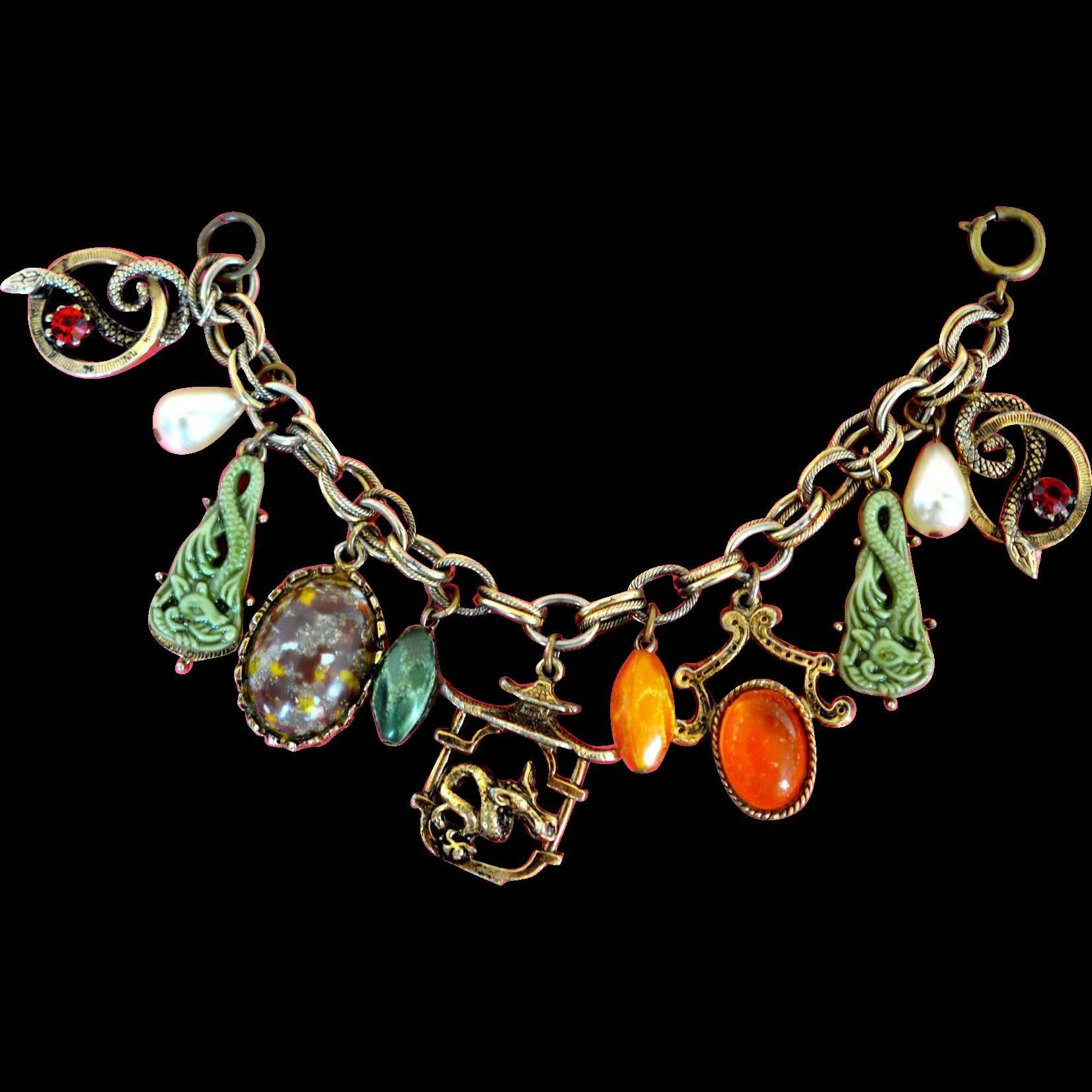 Oriental Charm Bracelet Susiesvintagejewelrystore Ruby Lane