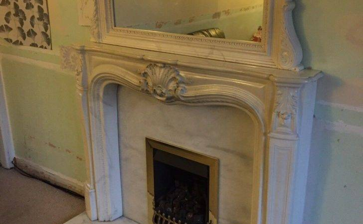 Ornate Fireplace Complete Mirror Marble Gas Fire