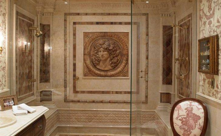 Ornately Detailed Walk Shower Features Benches Each Side