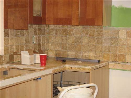 Our Backsplash While Were Putting Grout Anything