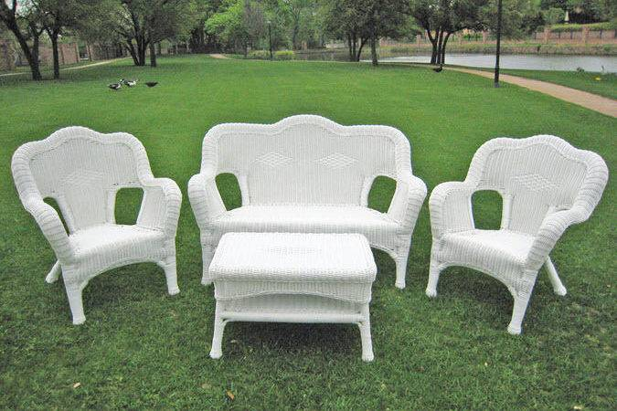 Outdoor Patio Wicker Furniture Set High End Resin White Seating