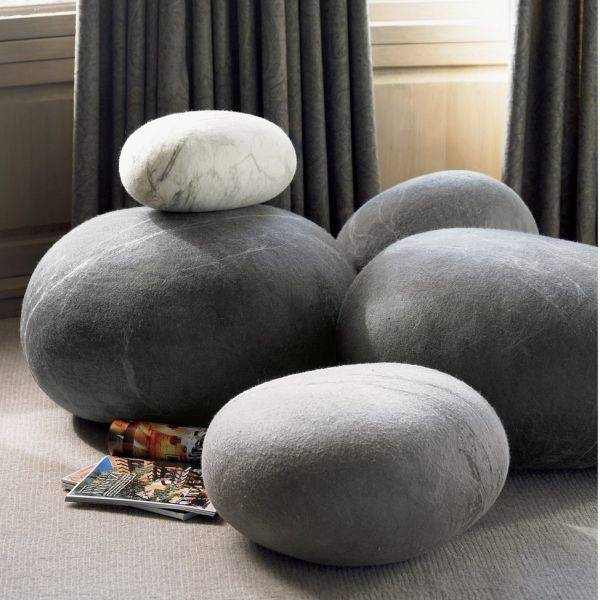 Oversized Stone Floor Cushions Made Wool