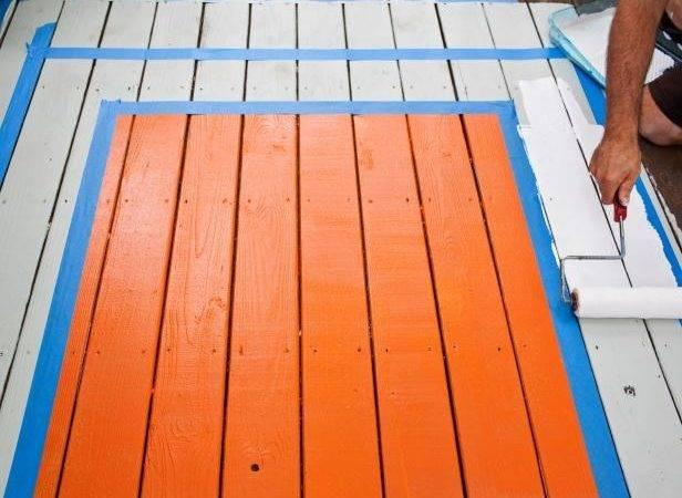 Paint Border Deck Rug Pour Exterior Into Pan Liner Placed