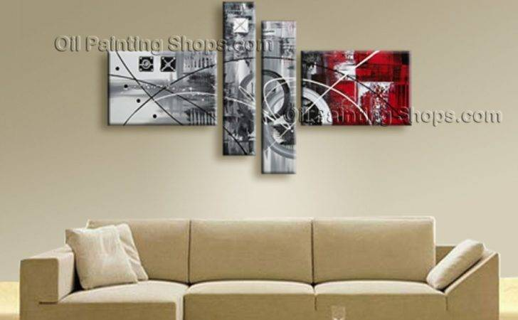Painted Tetraptych Modern Abstract Painting Wall Art Interior Design