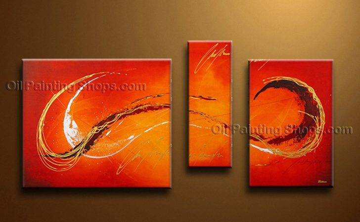 Painted Triptych Modern Abstract Painting Wall Art Interior Design
