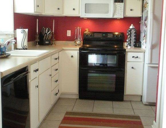 Painting Kitchen Red Two Opposite Walls Cabinets Not