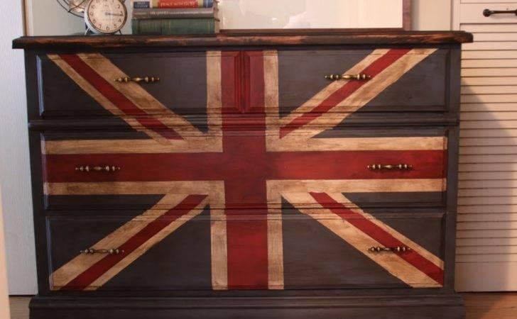 Painting Union Jack British Flag Dresser Tutorial Megmade