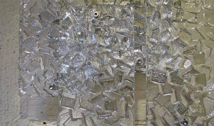 Pair Kalmar Textured Glass Panel Wall Light Sconces Longer