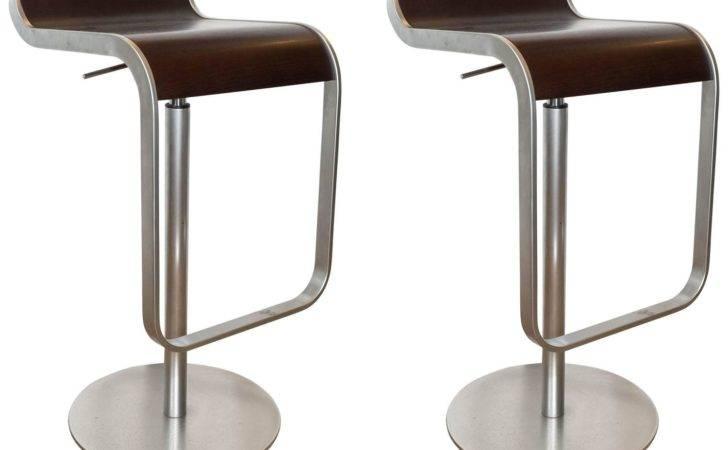 Pair Lem Piston Barstools Walnut Chrome Lapalma