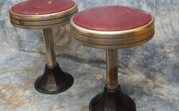 Pair Matching Bar Stools Retro Drug Store Soda Fountain Vintage