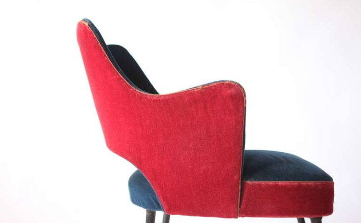 Pair Red Blue Velvet Chairs Sale Stdibs