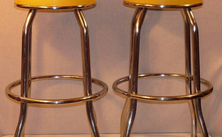 Pair Vintage Canary Yellow Cosco Chrome Vinyl Fuzzystars