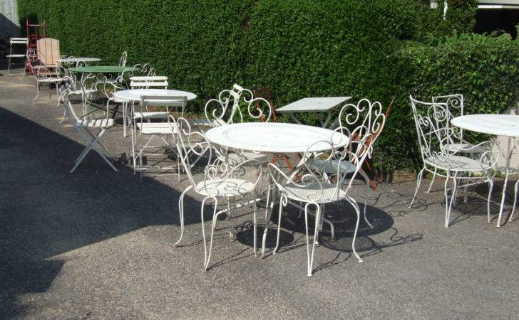 Pair Vintage French Wrought Iron Garden Patio Chairs