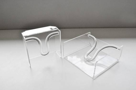 Pair Vintage Lucite Napkin Holders