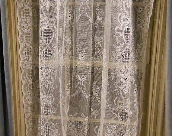 Pair Vintage Pure White All Cotton Lace Curtain Panels