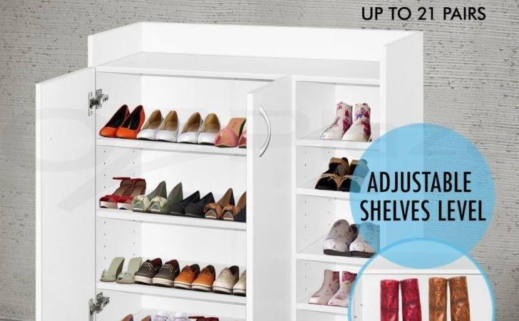 Pairs Shoe Cabinet Rack Storage Organiser Shelf Doors Cupboard