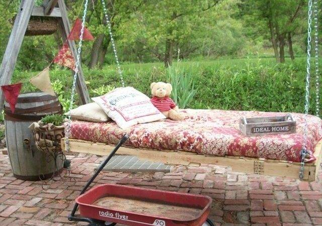 Pallet Swing Bed Diy Porches Swings Pinterest