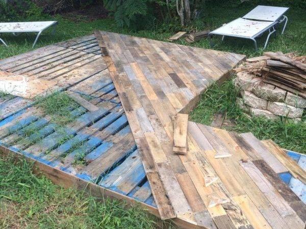 Patio Deck Out Wooden Pallets Pallet Flooring Terraces